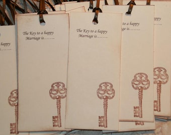 Wedding Wish Tags - Qty 75 - The Key to a happy Marriage is.......Wedding Wish Tree Tags Wedding Favor Tags