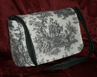 Purse with Flap Medium-Sized Shoulder Bag Crossbody Bag Toile Country Scenes Black and White Design