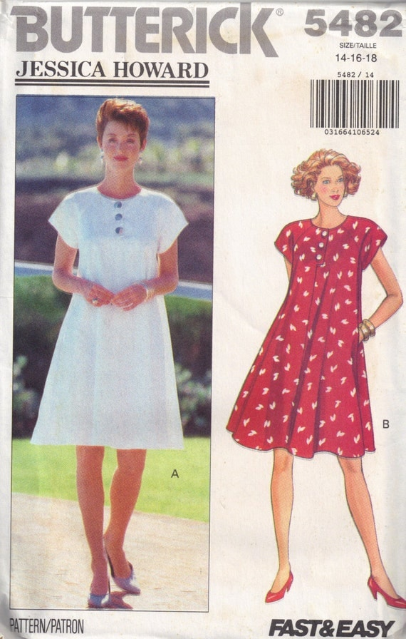 Butterick 5482 Misses Sewing Pattern Jessica Howard Design Flared Dress Plus Size 14, 16, 18 Bust 36, 38, 40