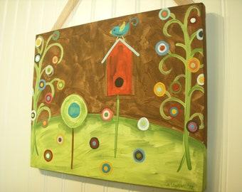 Birdhouse bird rustic canvas painting 11 x 14 Original hand painted Home decor wall art Primitive tree of life artwork Brown polka dot house