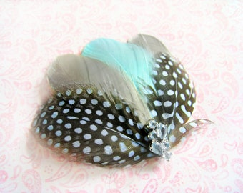 Tiffany blue feather, aqua blue polka dots, grey feather hair clip, light blue rhinestones