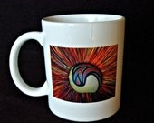 Unique and Stylish Ceramic Coffee Mug, Star Burst Design in Reds and Rust with Black, A Little Something Gift for Him or Her