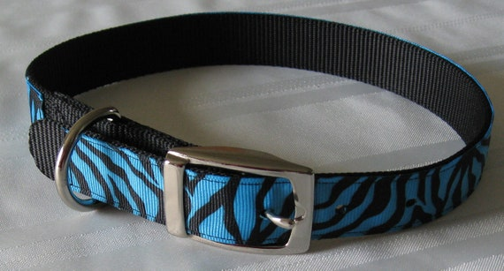 Price Reduced - Large Nylon Dog Collar. Teal and Tiger Striped