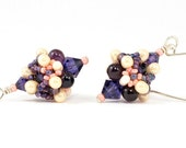 Handcrafted Purple and Cream Beaded Earrings