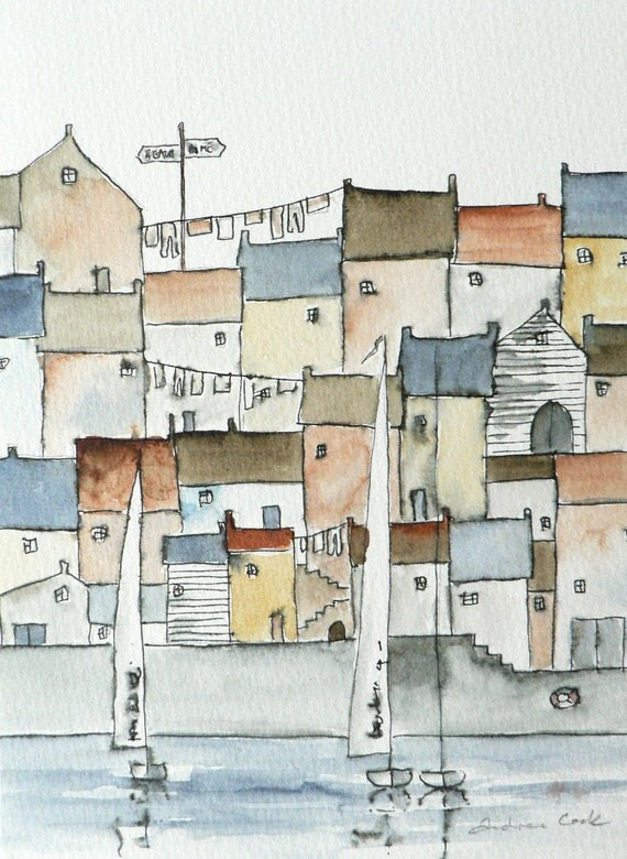 original watercolor painting of a harbor town