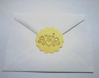 Yellow 2 Inch Scalloped Die Cut Envelope Sealers