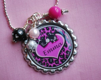 Personalized Girls Bottlecap Pendant Necklace - Hot Pink Cheetah Heart