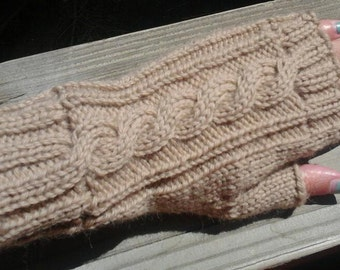 Wool Cable Knit Fingerless Gloves Almond