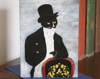 Mr Darcy Cat Card, Tuxedo Cat in Tux and Top Hat, Cat Art 5x7 Greeting Card