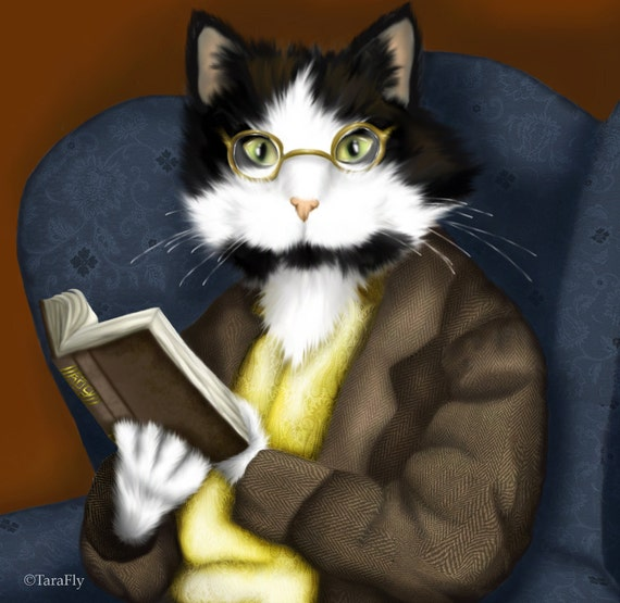 Tuxedo Cat Art, Cat Reading Book and Wearing Glasses Fine Art Print CLEARANCE