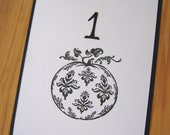 Black and White Damask Pumpkin Table Numbers, Wedding Table Numbers