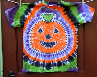Pumpkin Jack-O-Lantern Halloween Tie Dye T-shirt - Made to Order - ADULT size S, M, L, XL, 2XL