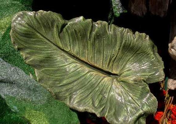 BIRDIE PERCH (DELUXE) - Cement plus leaf equals cast leaf Calla Lily birdbath / feeder - greens, yellows and gold veins (Leaf No. 870)