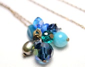 Midnight blue and turquoise long necklace in antique gold chain
