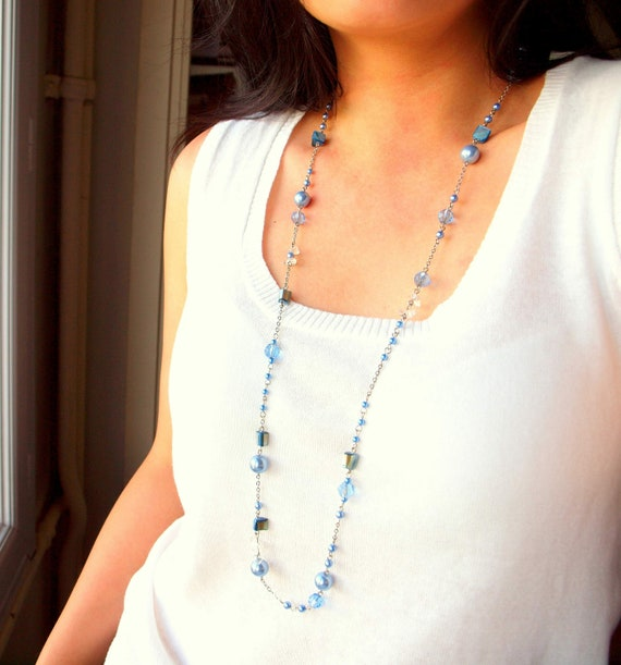 Sky Blue Long Necklace Convertible to Stackable Bracelet