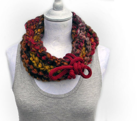 Crocheted extra long infinity scarf , wool yarn burgundy, mustard yellow, brown, burnt orange. Chunky winter accessories