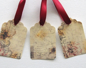 Vintage gift tags with decorative ribbon set of 12