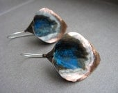Small Hand Forged Lily Earrings in Copper with black brushed patina with a pop of color
