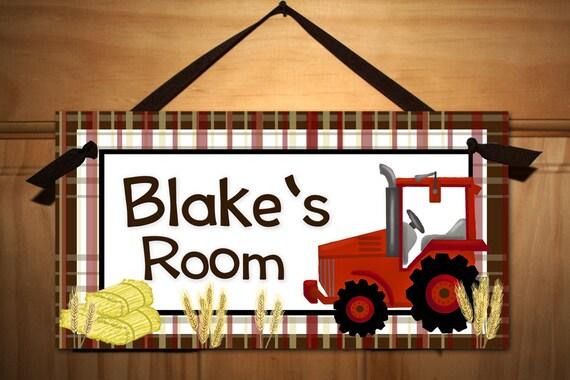Big Red Tractor Boys Farm Bedroom Door Sign Wall Art Ds0103