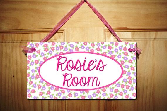 dainty pink flower girls door sign kids bedroom wall art decor ds0220