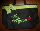 Teacher Bag  Personalized Name and apple. You choose bag color and ribbon. Great Teacher gift. Nice big bag.