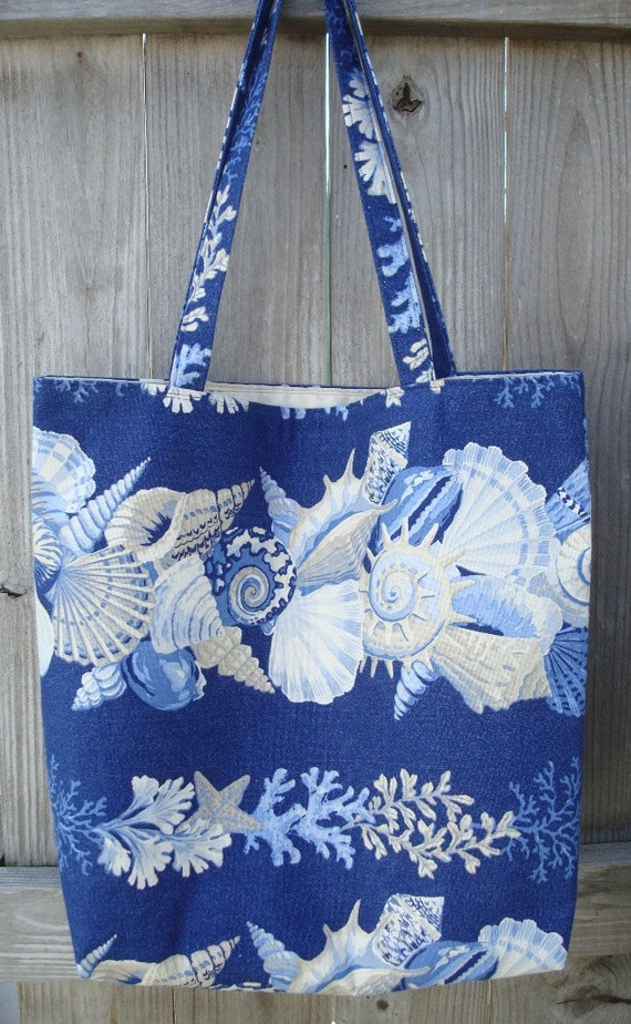 Seashell Print Beach Tote - Seashell Print Beach Bag