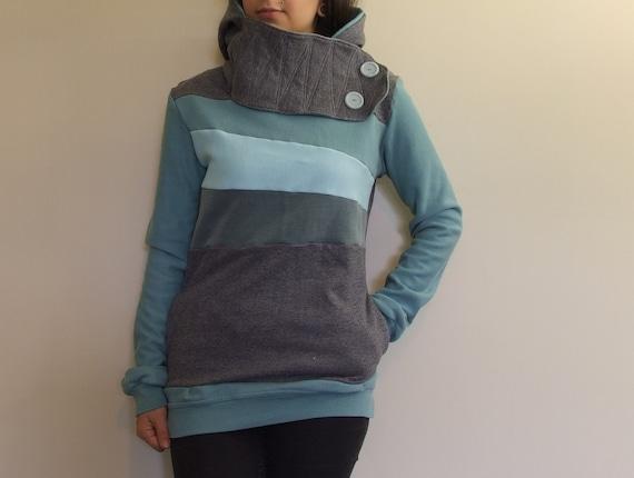 SHANGRI LA - Hoodie Sweatshirt Sweater - Recycled Upcycled - One of a Kind Women - Small/Medium