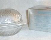 Vintage Fostoria Lead Glass Egg Candy Dish Spring Lilac Soap Avon