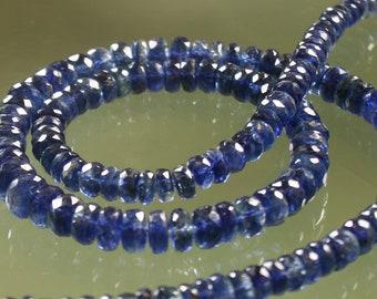 AA Blue Kyanite Faceted Rondelles 3mm - 6mm