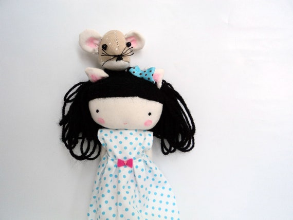Elsita kitty doll - cat rag doll with mouse pet cloth doll made to order