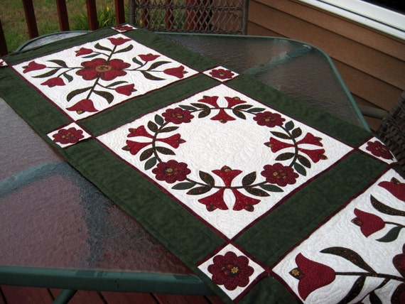 Quilted runner for table, sofa or bed  Holiday special price