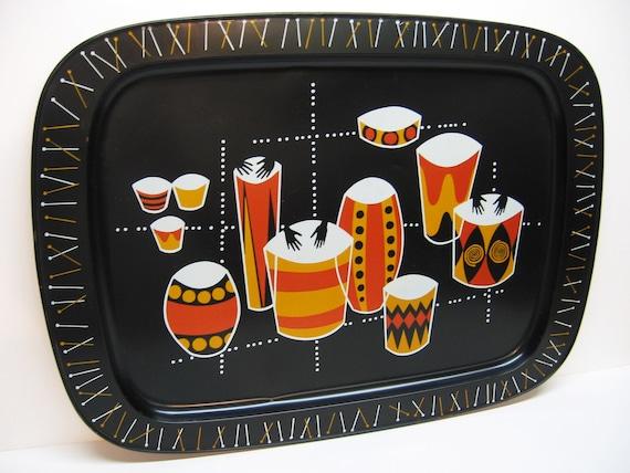 Vintage Mid Century Tin Tray - Bongo Drums Motif - 1950s - 1960s - Wall Decor - Mad Men Cocktail Tray
