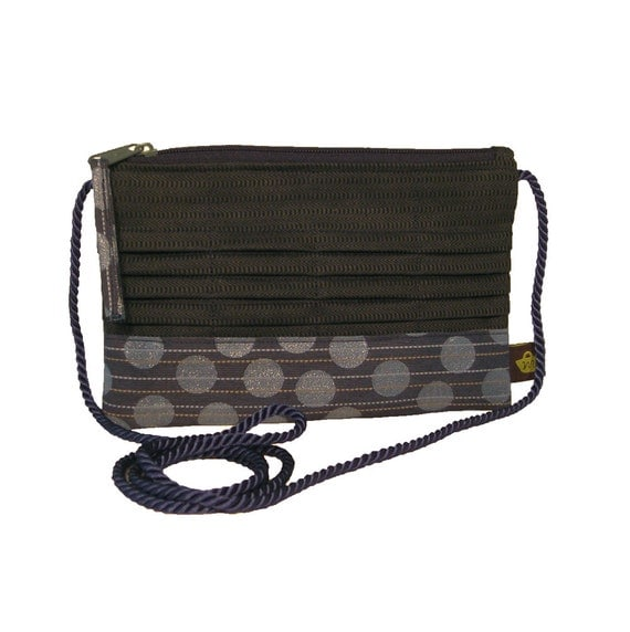 Pleated Zipper Pouch using Recycled Upholstery Fabric - Navy Circles With Strap - DANA