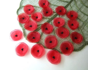 Handmade fabric appliques- Organza sew on flower embellishments (15 pcs)- RED POPPIES