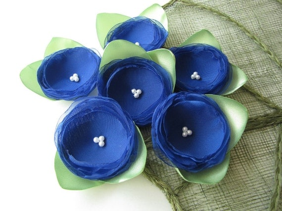 Handmade fabric flower appliques / embellishments (6 pcs) - SAPPHIRE BLUE ROSES With Leaves