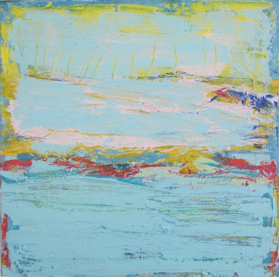 Abstract Painting -  Blue Art Original Modern Contemporary Acrylic Painting, Blue Heron Paradise by Francine Ethier, 24x24 inches