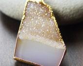 Lemon druzy necklace 14k gold
