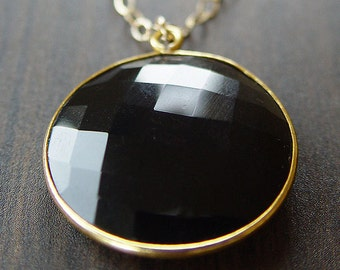 SALE Round Black Onyx Gold Necklace