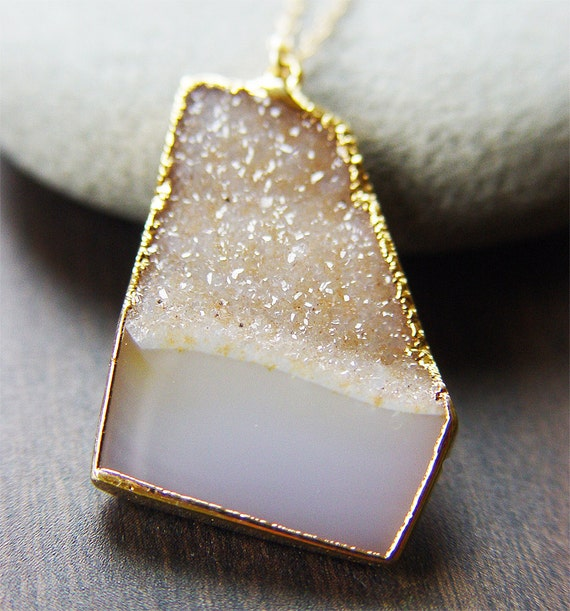 Lemon druzy necklace 14k gold