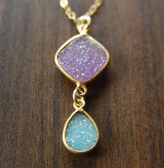 Geometric Purple Druzy Necklace 14k Gold