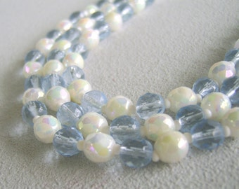 Vintage Glass Bead Triple Strand Necklace Mid Century