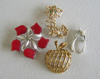 Vintage Brooch Lot Red Celluloid Flower Silver Gold Figural