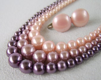 Vintage Triple Strand Pink Plum Pearl Necklace Earring Set