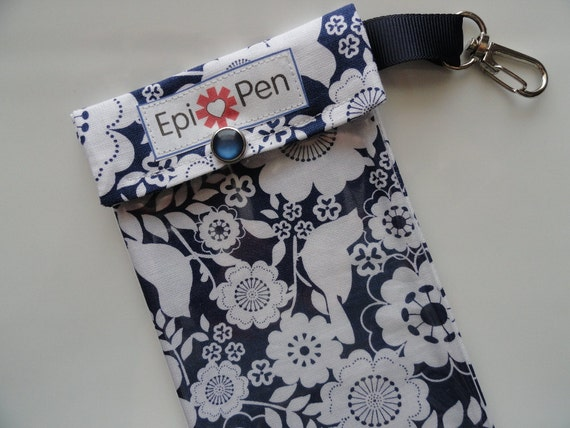 Clearance Sale - Epi Pen Carrier with Clear Pocket and Clip 4x8 Holds 2 Allergy Injector Pens -  Song Bird in Blue Fabric