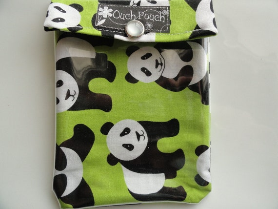 Clearance Sale Ouch Pouch Clear First Aid Travel Organizer for Purse or Diaper Bag Backpack (4x5 Lime Panda Fabric )