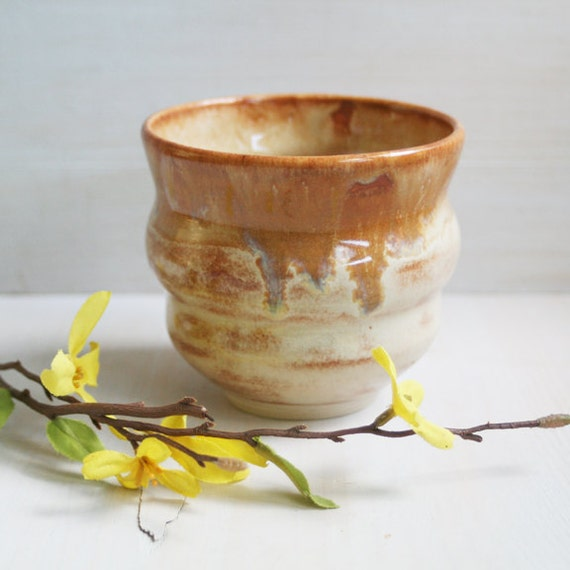 Ceramic Yunomi Teacup in Brown and Cream Glaze Handmade Ceramic Pottery Japanese Cup Ready to Ship Made in USA