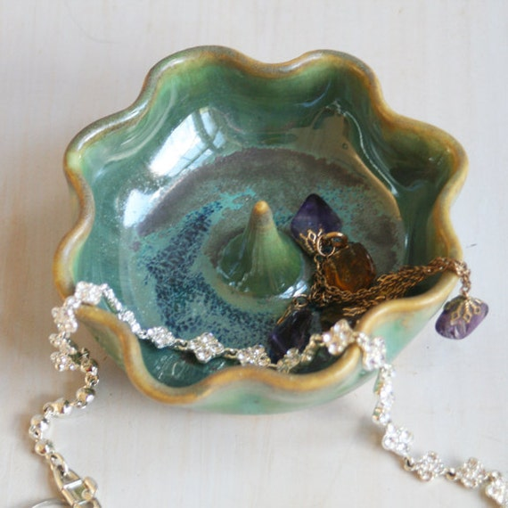 Ring Catcher - Large Ring Holder in Shimmering Green Glaze and Ruffled Edges - Handmade Ceramic Jewelry Dish - Green Pottery 2a