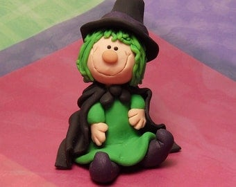 Handmade Polymer clay Little Green hair Witch figurine