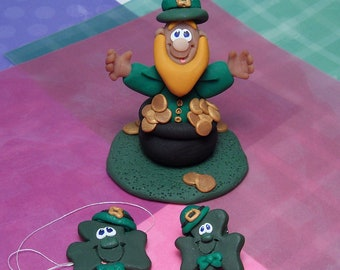 Handmade St. Patricks day Set of 3 items Leprechaun in pot of gold Figurine, Clover ornament and Clover tack pin