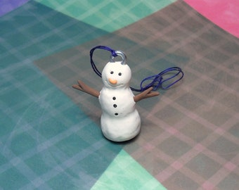 2 Handmade Polymer clay Tilted Snowman ornaments with carrot nose and bead buttons and stick clay arms